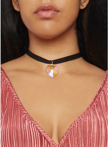 Ribbon Choker Necklace with Heart Pendant,BLACK,large