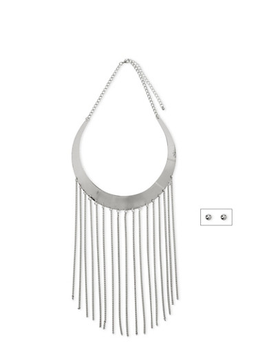 Metal Collar Necklace with Fringe Trim and Stud Earrings Set,SILVER,large