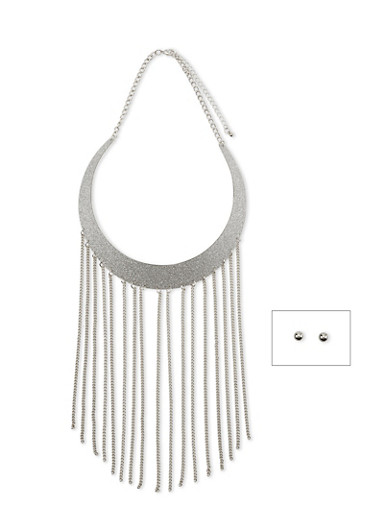 Glitter Collar Necklace with Fringe Trim and Stud Earrings Set,SILVER,large