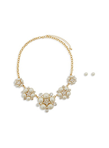 Faux Pearl and Rhinestone Flower Necklace with Stud Earrings,IVORY,large