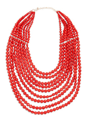 Multi Layered Beaded Necklace,RED,large