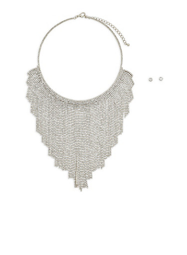 Metallic Rhinestone Bib Necklace with Stud Earrings,SILVER,large