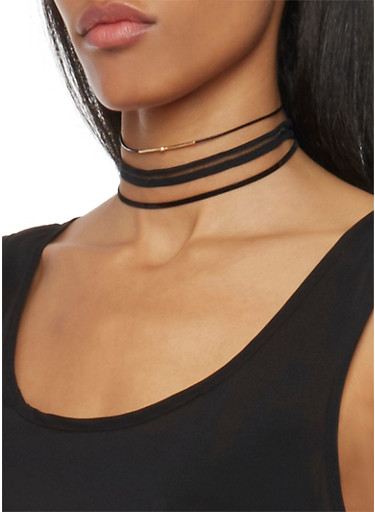 Set of 3 Assorted Choker Necklaces,BLACK,large