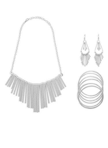 Textured Metallic Stick Necklace with Bangles and Earrings Set,SILVER,large