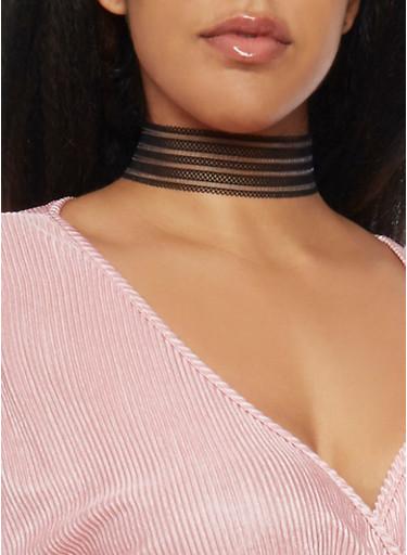 Mesh Choker Necklace,BLACK,large
