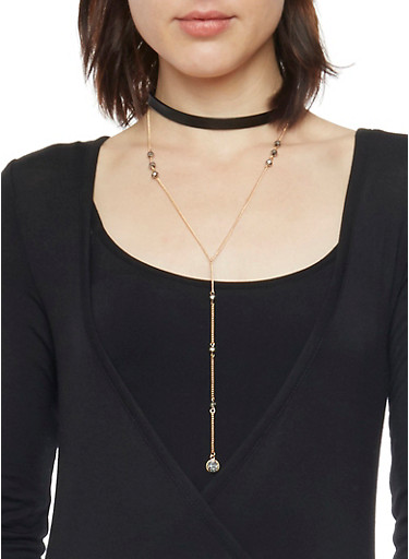 Layered Faux Leather Choker and Lariat Necklaces,BLACK,large
