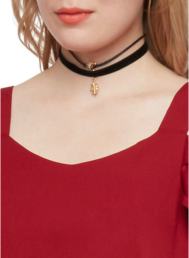 Set of 3 Choker Necklaces with Celestial Designs,BLACK,large