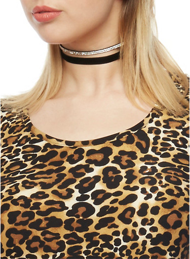 Set of 3 Assorted Choker Necklaces,BLACK,large