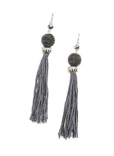 Thread Wrapped Bead Tassel Drop Earrings,BLACK,large