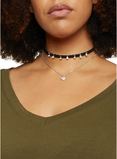 Set of 3 Necklaces and Velvet Choker with Rhinestones,SILVER,large