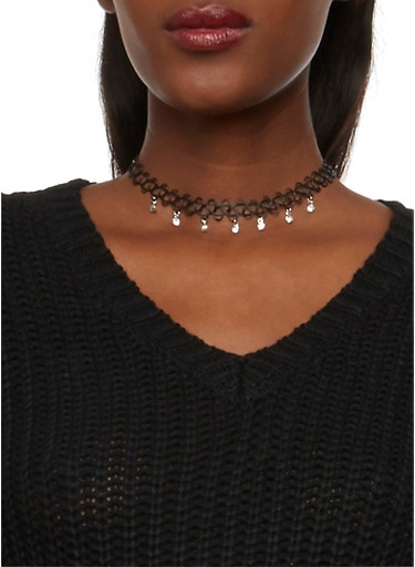Set of 3 Necklaces with Tattoo Choker,SILVER,large