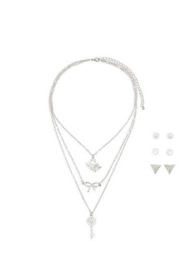 Love Charm Layered Necklace with Stud Earrings,SILVER,large