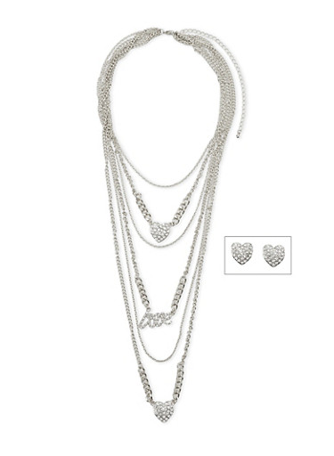 Layered Pendant Necklace with Rhinestone Heart Stud Earrings Set,SILVER,large