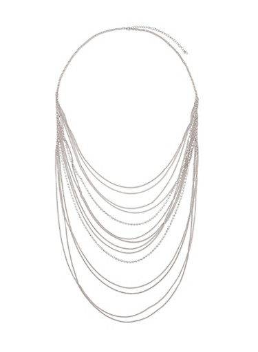 Long Multi Layer Chain and Rhinestone Necklace,SILVER,large