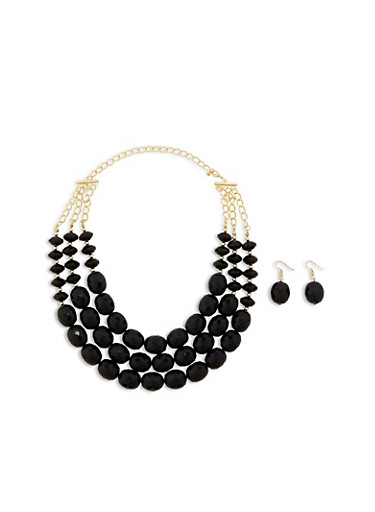 Layered Chunky Bead Necklace with Matching Earrings,BLACK,large