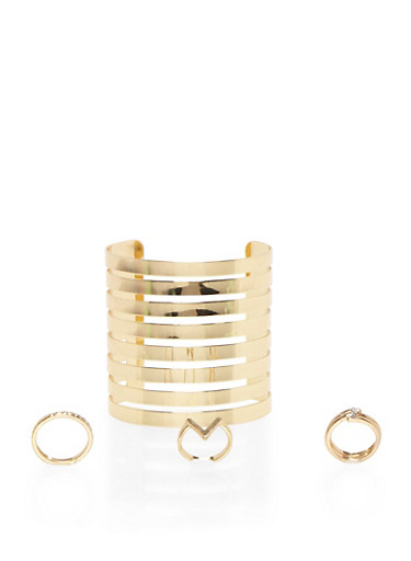 Lasercut Metal Cuff Bracelet with 3 Geo Rings Set,GOLD,large
