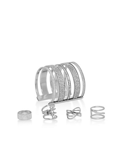 Rhinestone Encrusted Set of 4 Rings and Cuff Bracelet,SILVER,large