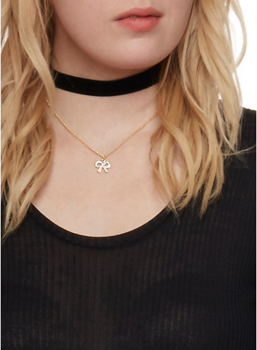 Set of 8 Choker Necklaces and Stud Earrings,BLACK,large