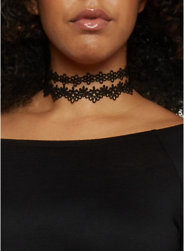 Set of 3 Assorted Floral Crochet Chokers,BLACK,large