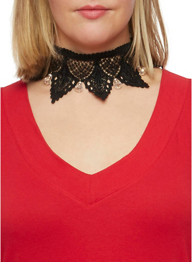 Lace Choker with Drop Jewels,BLACK,large
