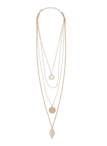 Set of 4 Pendant Necklaces,ROSE,large
