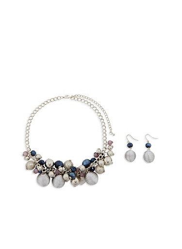 Multi Textured Beaded Necklace and Earrings Set,SILVER,large