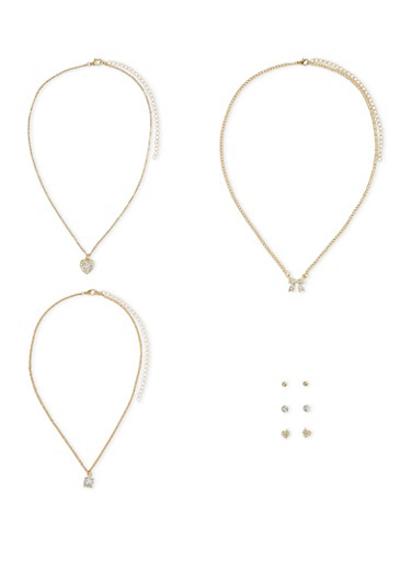 Set of 3 Necklaces and 3 Stud Earrings,GOLD,large