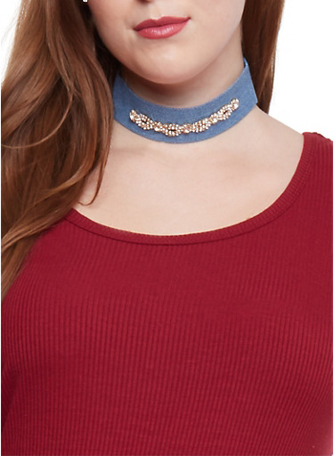 Denim Choker with Crystal Detail and Matching Stud Earrings Set,DENIM,large