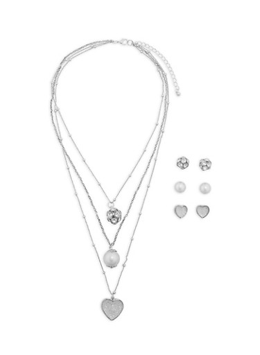 Set of 3 Stud Earrings and Multi Layer Charm Necklace,SILVER,large