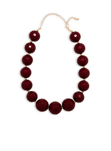 Large Faceted Bead Necklace,WINE,large