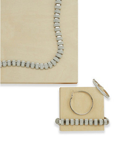 Matching Glitter Necklace Bracelet and Hoop Earrings Set,SILVER,large
