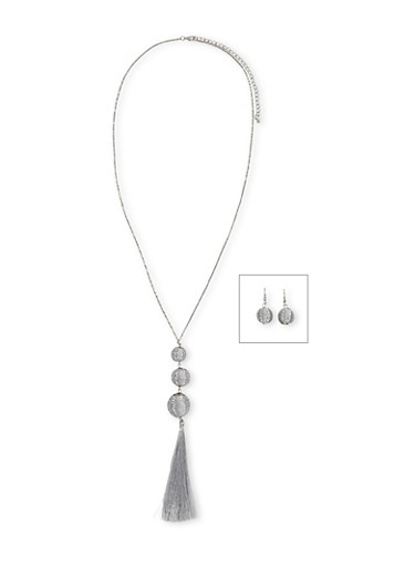 Threaded Ball Tassel Necklace with Matching Earrings,SILVER,large
