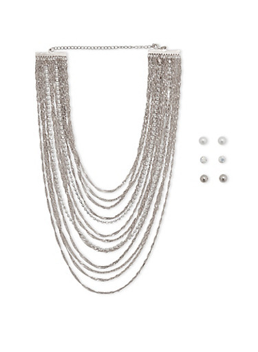 Multi Layer Necklace with Stud Earrings Set,SILVER,large