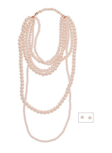 Layered Faux Pearl Necklace and Earrings Set,ROSE,large