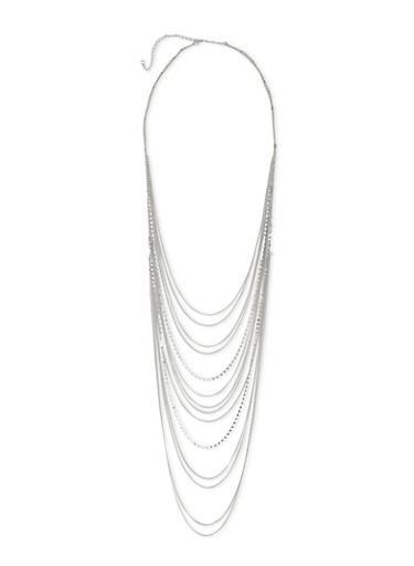 Layered Chainlink Necklace,SILVER,large