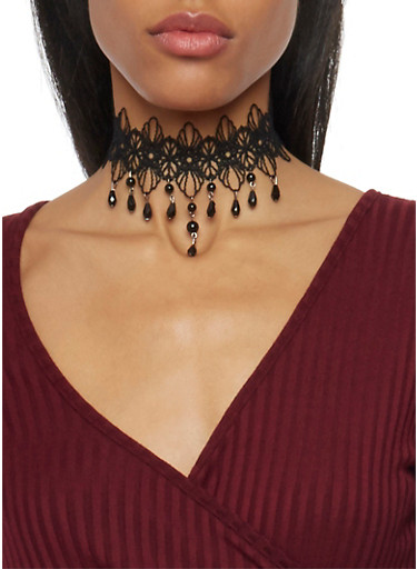 Lace Choker Necklace with Beaded Trim,BLACK,large