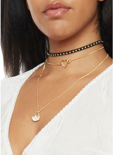 Set of 3 Choker and Pendant Necklaces,BLACK,large