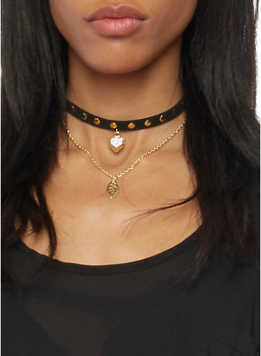 Set of 2 Choker Necklaces with Studs and Pendant,GOLD,large