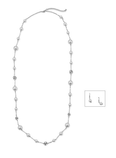 Studded Faux Pearl Necklace with Drop Earrings Set,SILVER,large
