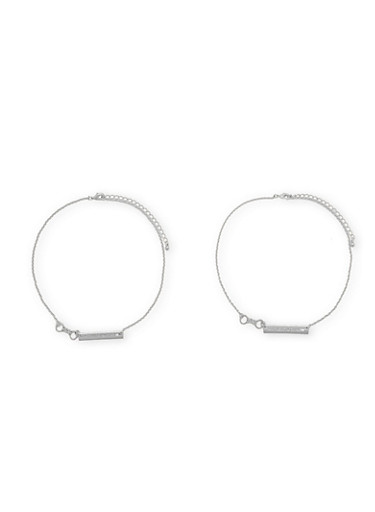 Set of 2 Handcuff Necklaces with Partners in Crime Charms,SILVER,large