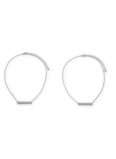 Set of 2 Friendship Necklaces with Hashtag Squad Goals Charm,SILVER,large