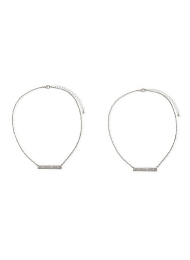 Set of 2 Necklaces with Hashtag Sisters Charm,SILVER,large