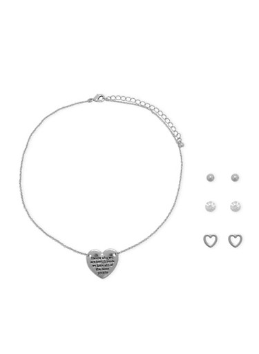 Set of 3 Assorted Stud Earrings and Heart Necklace,SILVER,large