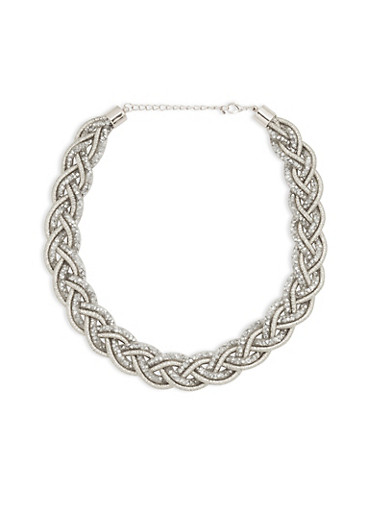 Mesh Braided Rhinestone Necklace,SILVER,large