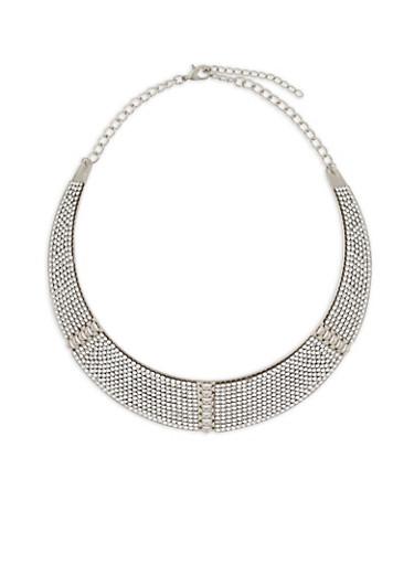 Rhinestone Collar Necklace,SILVER,large
