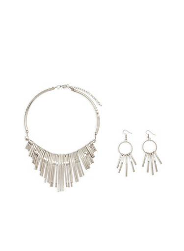 Stick Collar Necklace and Drop Earrings,SILVER,large