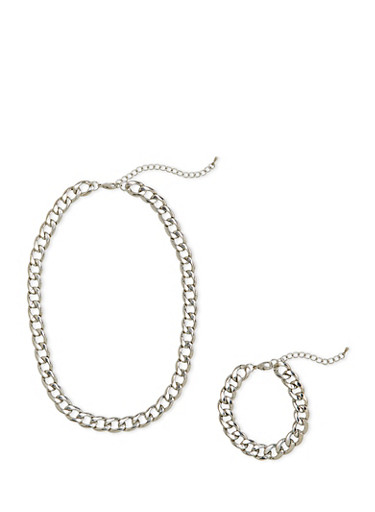 Curb Chain Necklace and Bracelet Set,SILVER,large