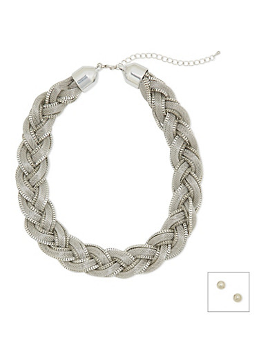 Stud Earrings and Braided Necklace Set,SILVER,large