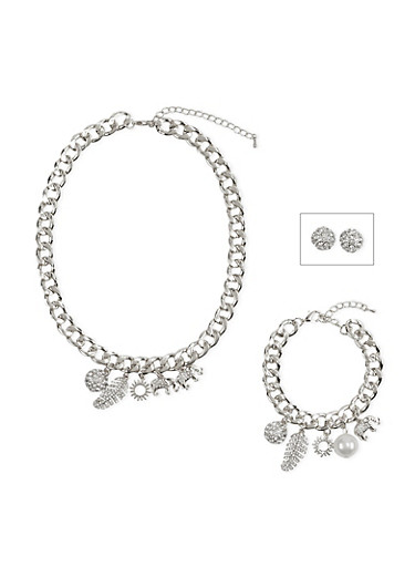 Jewelry Set with Stud Earrings and Chainlink Charm Bracelet with Necklace,SILVER,large