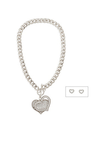 Curb Chain Rhinestone Heart Necklace with Stud Earrings,SILVER,large
